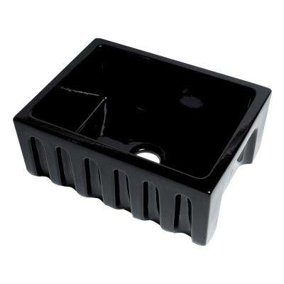 Farmhouse Fireclay 24 in. Single Bowl Kitchen Sink in Black Gloss
