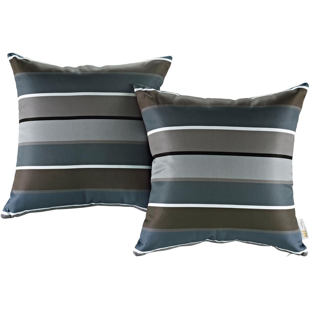 MODWAY Patio Square Outdoor Throw Pillow Set in Stripe (2-Piece)