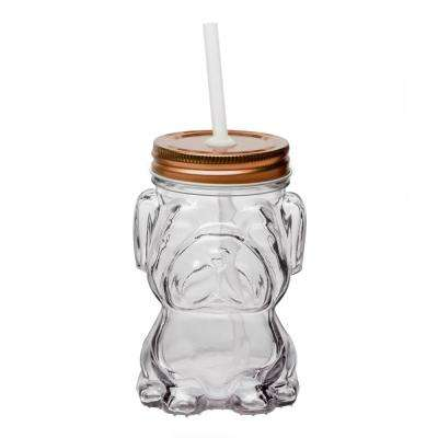 Mad Dog 4-Piece Clear Glass Mason Jar Drinkware Set with Copper Lid