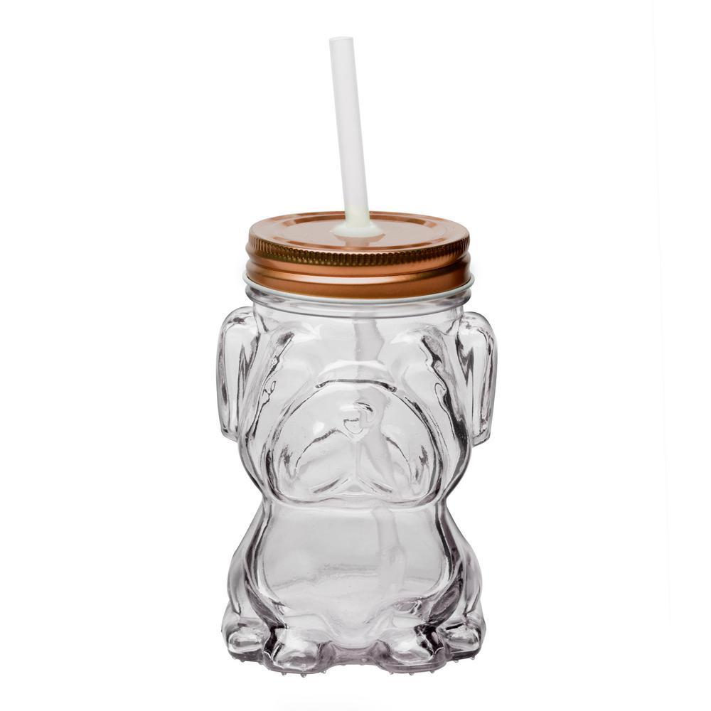 Amici Home Mad Dog 4-Piece Clear Glass Mason Jar Drinkware Set