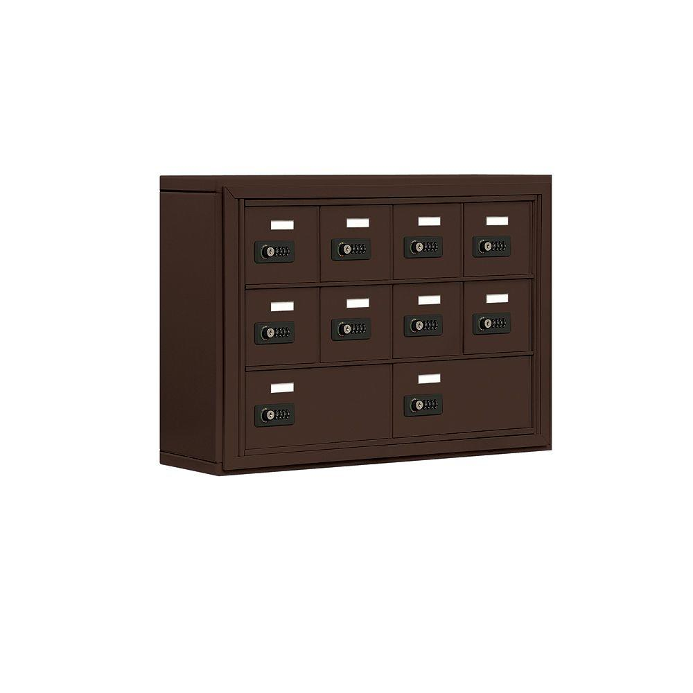 Salsbury Industries 19000 Series 30.5 in. W x 20 in. H x 6.25 in. D 8 A / 2 B Doors S-Mounted Resettable Locks Cell Phone Locker in Bronze
