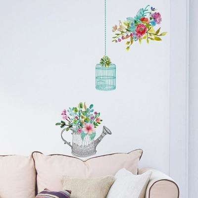 Multi Color Romantic Flowers Wall Decal