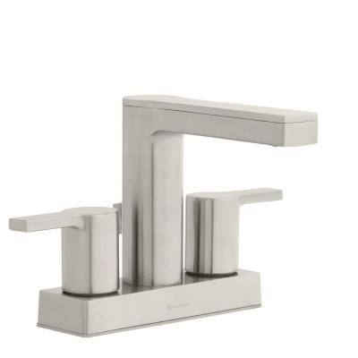 Modern Contemporary 4 in. Centerset 2-Handle Low-Arc Bathroom Faucet in Brushed Nickel