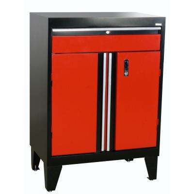 43 in. H x 30 in. W x 18 in. D Modular Steel Base Cabinet with Drawer Full Pull in Black/Red