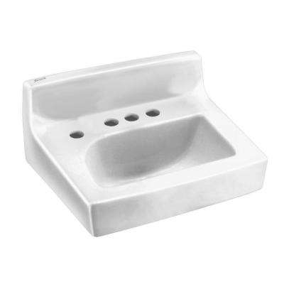 Penlyn Wall Hung Bathroom Sink in White with 4 in. Faucet Holes