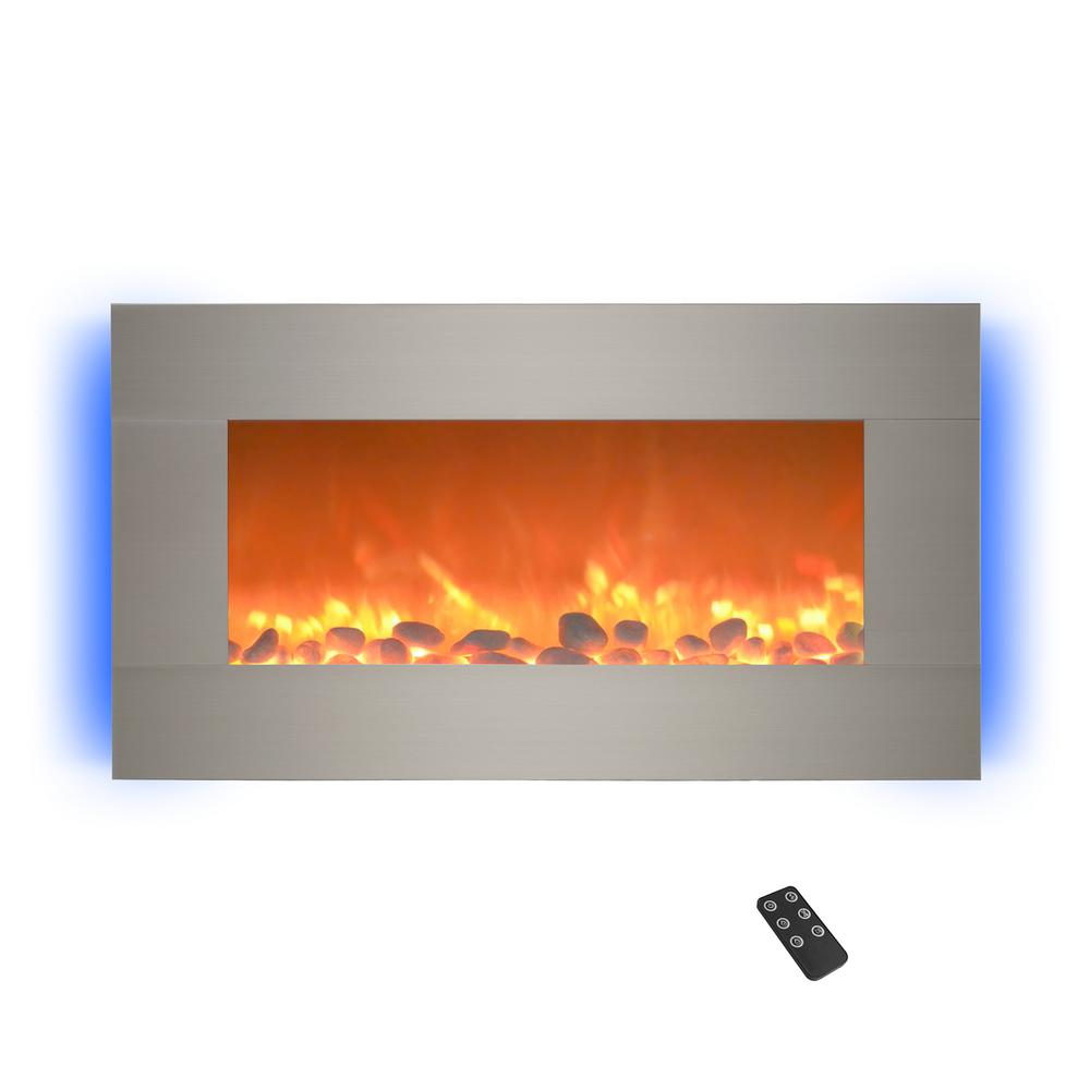 Stupendous 30 5 In Wall Mount Electric Fireplace With Led Backlights In Silver Home Remodeling Inspirations Cosmcuboardxyz