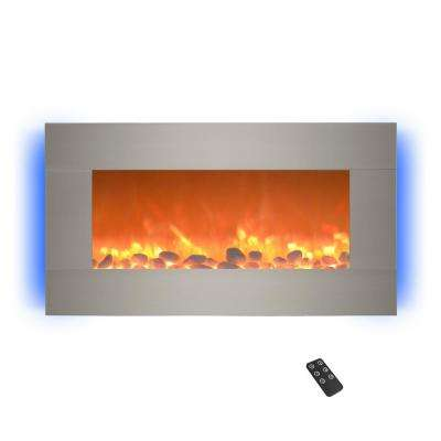 30.5 in. Wall Mount Electric Fireplace with LED Backlights in Silver