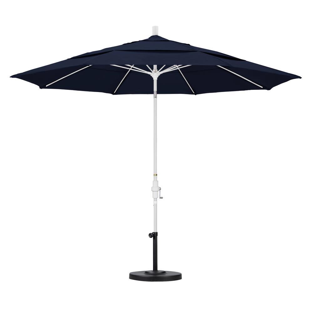 California Umbrella 11 ft. Fiberglass Collar Tilt Double Vented Patio Umbrella in Navy Blue Olefin