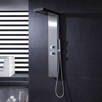"47"" Stainless Steel Fingerprint Resistance Shower Panel Tower Massage System Thermostatic Faucet with Jets & Hand Shower"