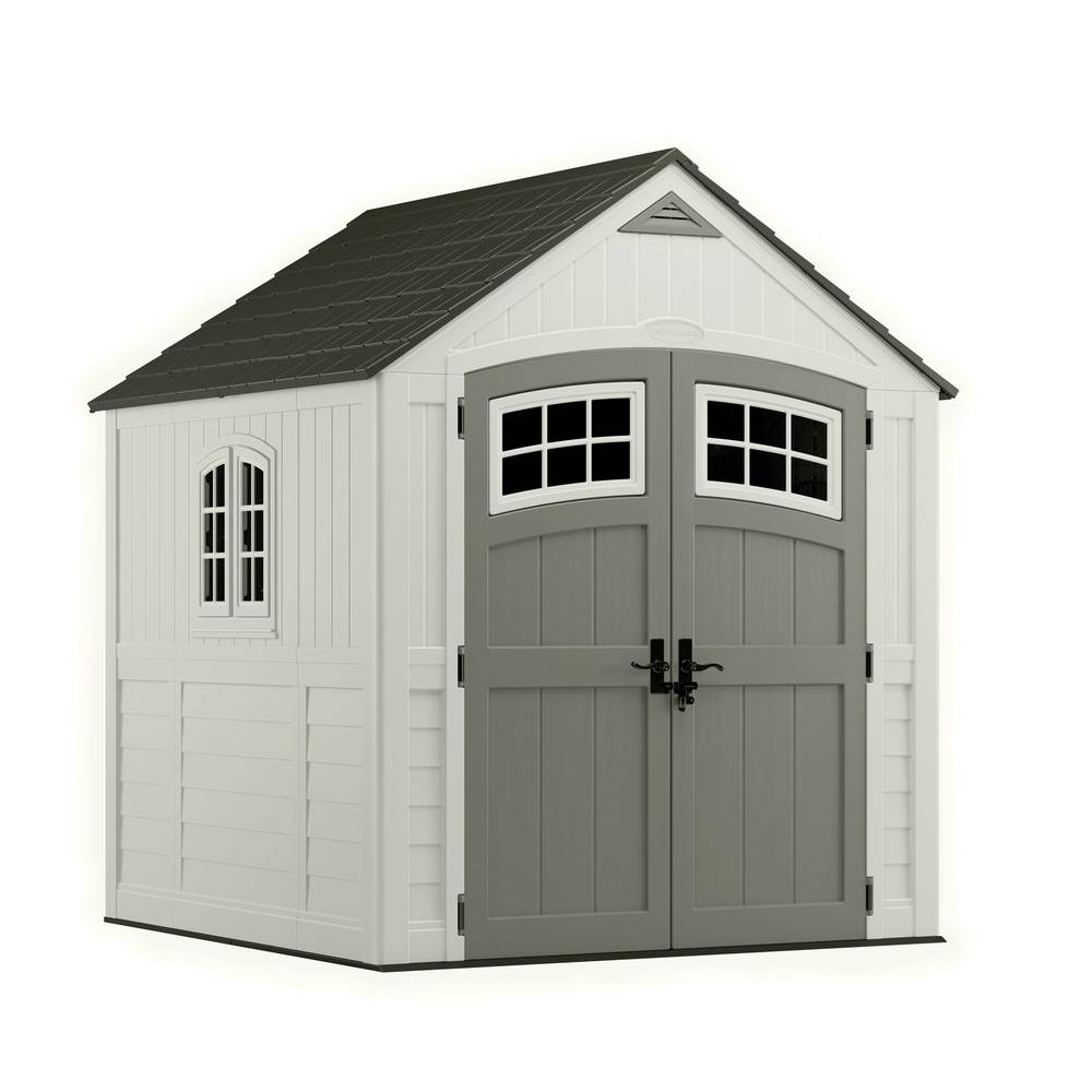 Suncast cascade 7 ft 3 in x 7 ft 4 5 in resin storage for Resin garden shed