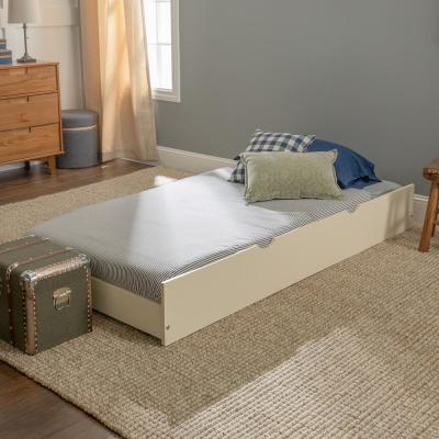 Transitional Solid Wood Hidden Storage Twin Trundle Bed - White