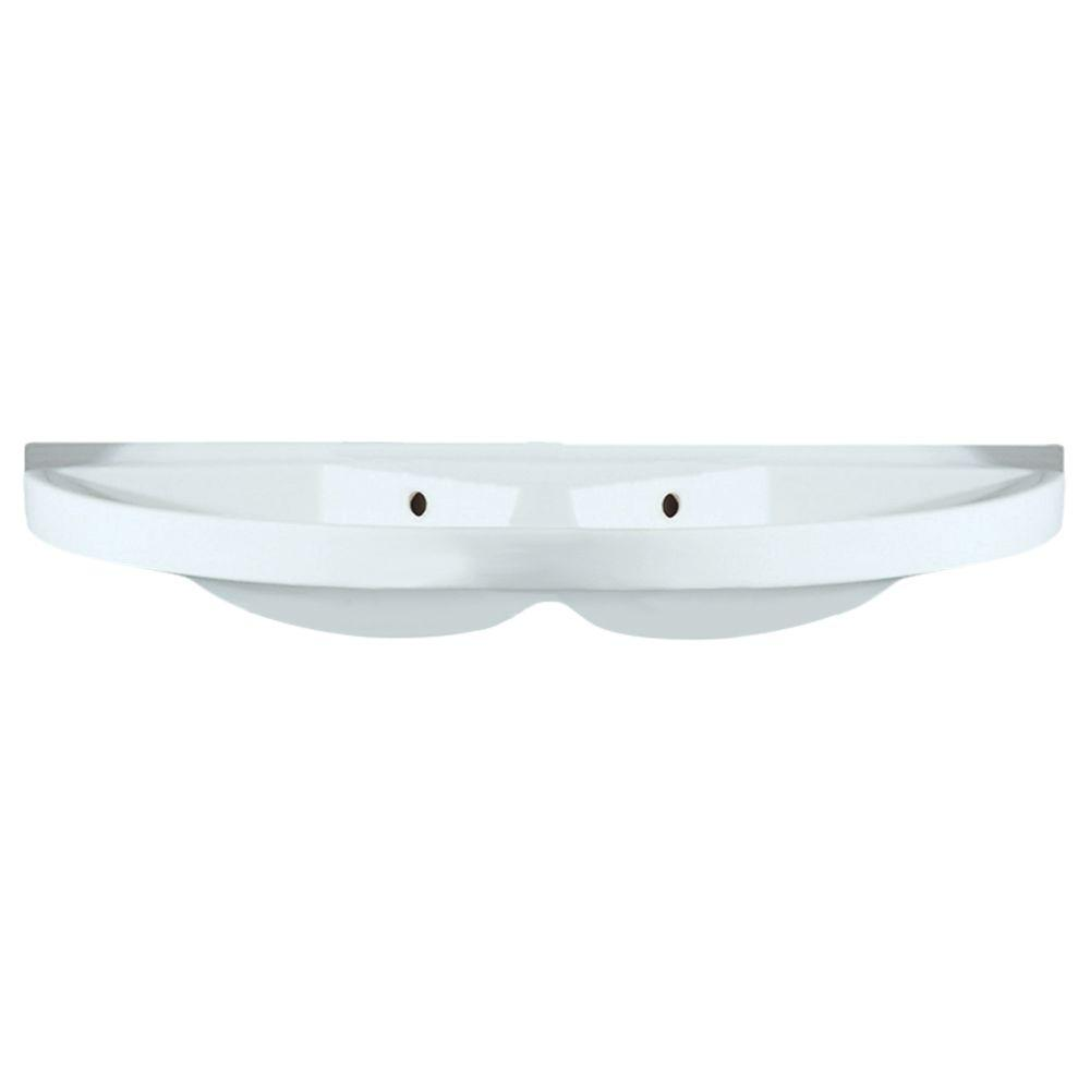 Whitehaus Collection China Series Large U-Shaped Wall-Mounted Double Bathroom Sink In White