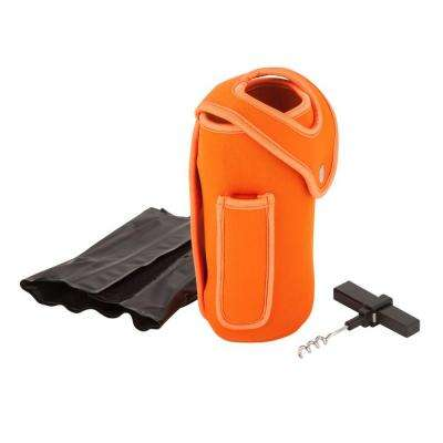 Wine Glove with Reusable Cooling Gel Pack in Orange