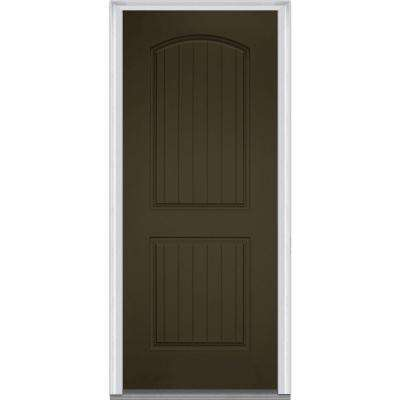 32 in. x 80 in. Left-Hand Inswing 2-Panel Archtop Planked Classic Painted Fiberglass Smooth Prehung Front Door