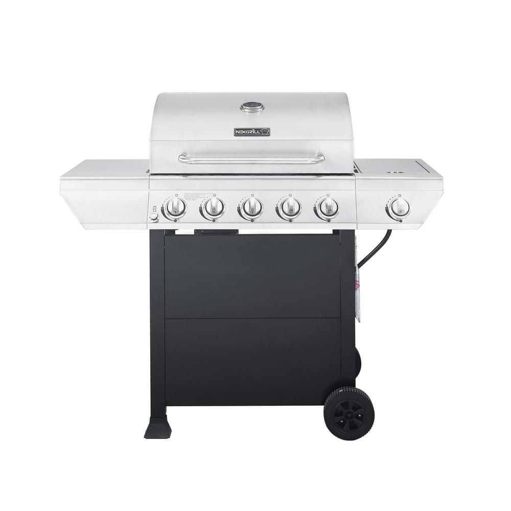 5 Burner Propane Gas Grill In Stainless Steel With Side And Black Cabinet