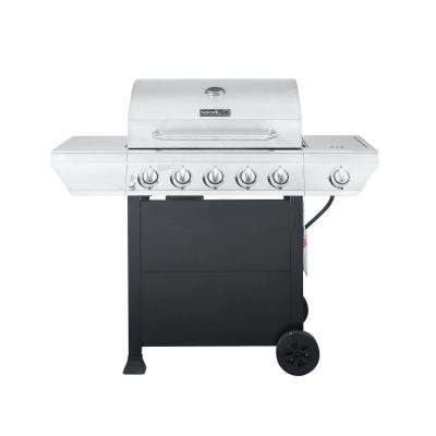 5-Burner Propane Gas Grill in Stainless Steel with Side Burner and Black Panel