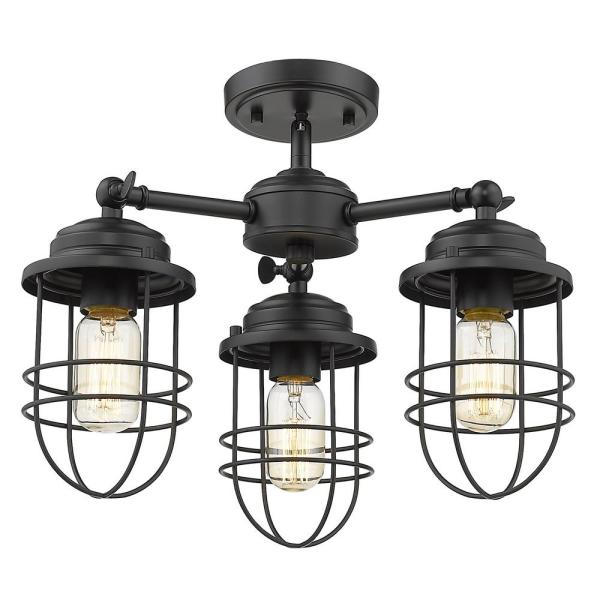 Seaport 3-Light Black Semi-Flush Mount Light
