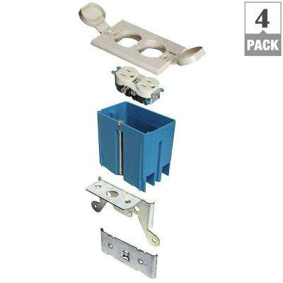 1-Gang 21 cu. in. Adjustable Floor Box - Ivory (Case of 4)