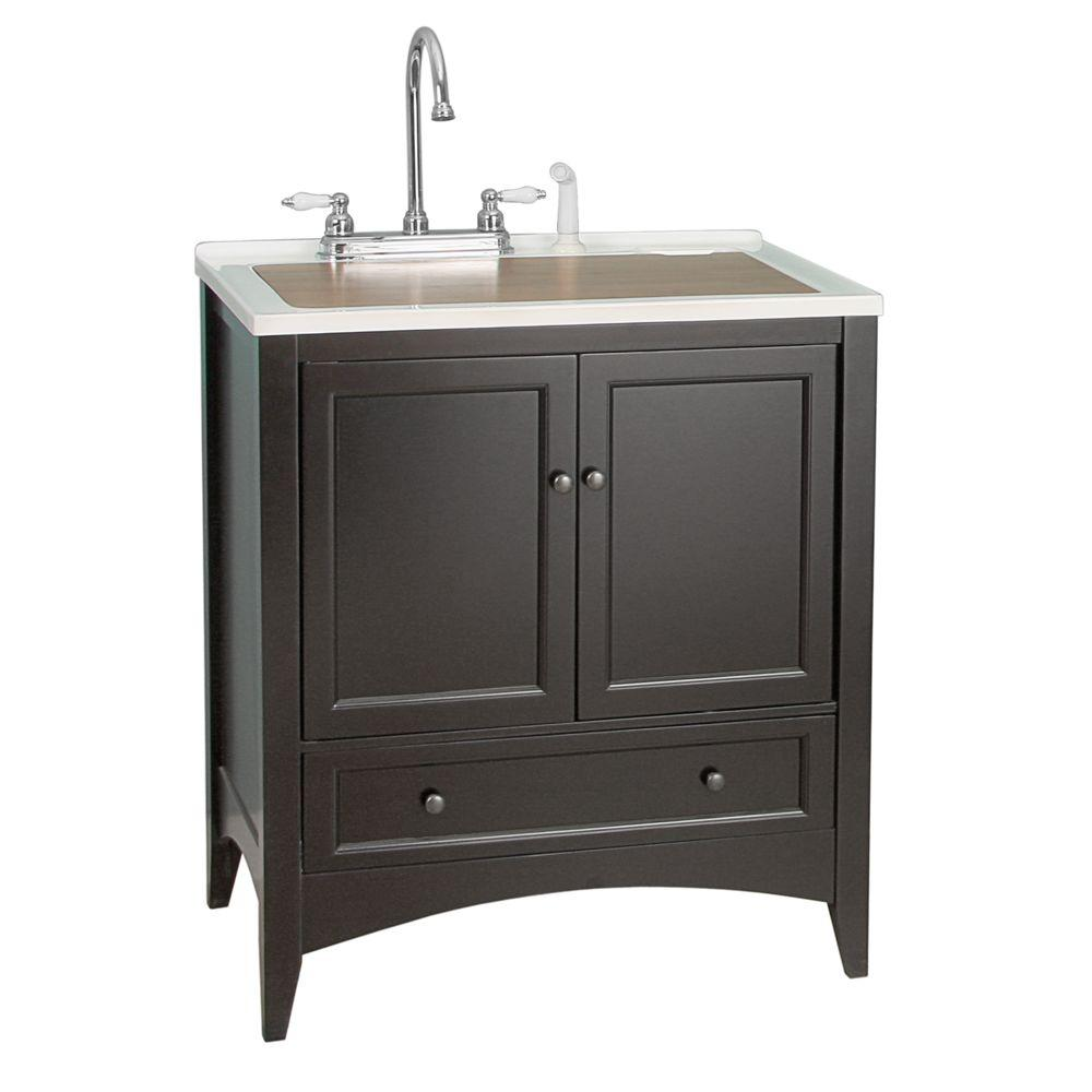 Foremost Stratford 30 in. Laundry Vanity in Espresso and Premium Acrylic Sink in White and Faucet Kit-DISCONTINUED