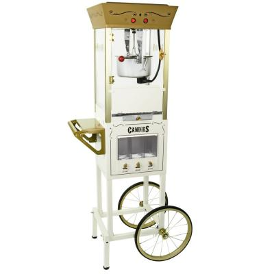 600 W 8 oz. Ivory Popcorn Machine with Cart and Snack Dispenser