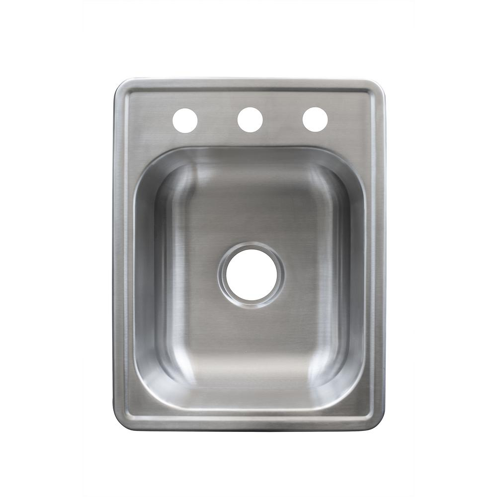 KINDRED Essentials Drop-In Stainless Steel 17 in. 3-Hole Single Bowl Bar Sink in Satin Stainless Steel