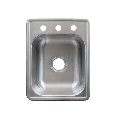 Essentials Drop-In Stainless Steel 17 in. 3-Hole Single Bowl Bar Sink in Satin Stainless Steel