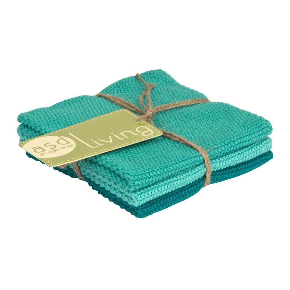 Set of 3 Cotton 10x10 Dishcloths, Marine Blue