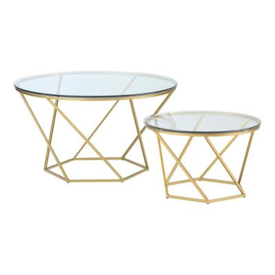 2-Piece 28 in. Gold Medium Round Glass Coffee Table Set with Nesting Tables