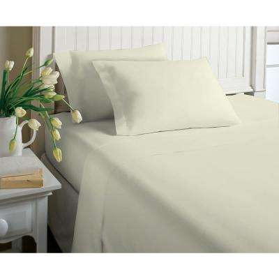 6-Piece White Solid Cotton Rich King Sheet Set
