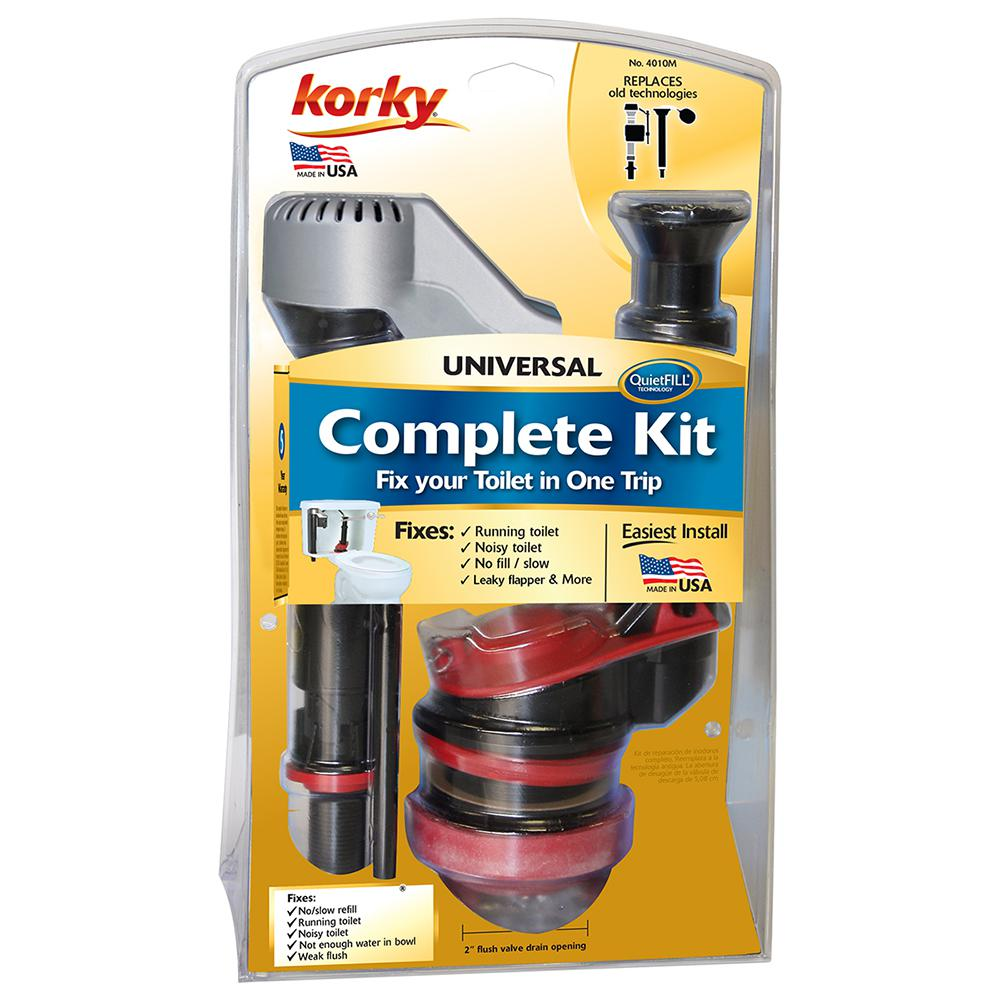 Korky 4010PK Universal Complete Toilet Repair Easy to Install Made in USA Stops Running Leaking Noisy Toilets