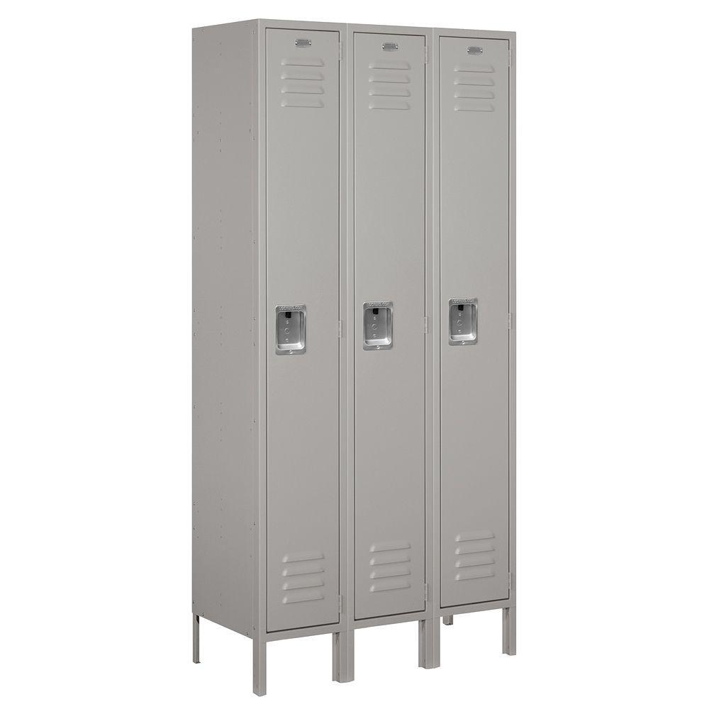 61000 Series 36 in. W x 78 in. H x 15 in. D Single Tier Metal Locker Unassembled in Gray