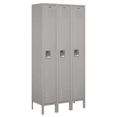 61000 Series 36 in. W x 78 in. H x 15 in. D Single Tier Metal Locker Unassembled in Gray