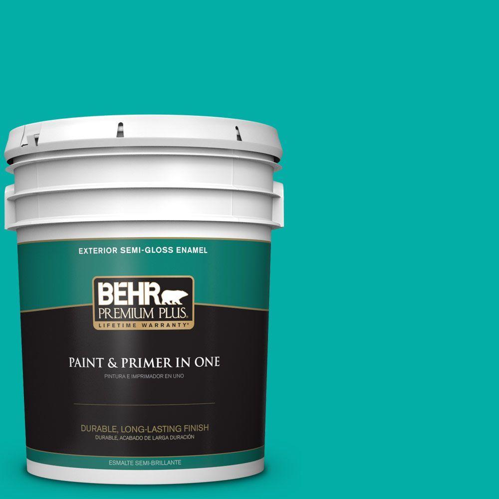 BEHR Premium Plus 5-gal. #490B-5 Cozumel Semi-Gloss Enamel Exterior Paint