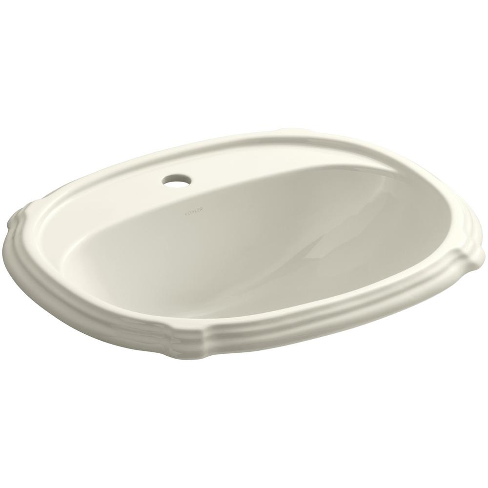 Portrait Drop-In Vitreous China Bathroom Sink in Biscuit with Overflow Drain