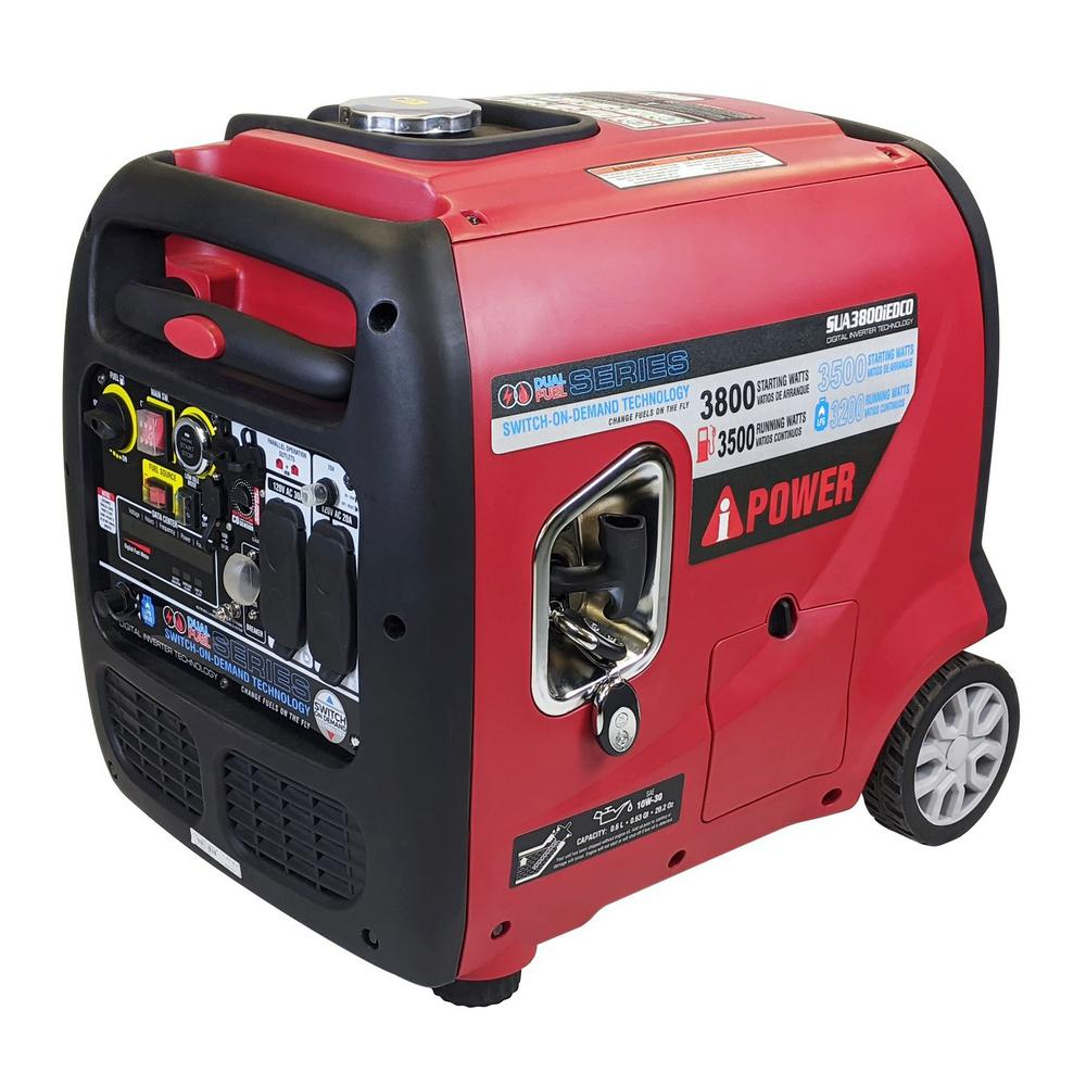 A-iPower 3,800-Watt Wireless Remote Start Dual Fuel Powered Inverter Generator -  SUA3800iED
