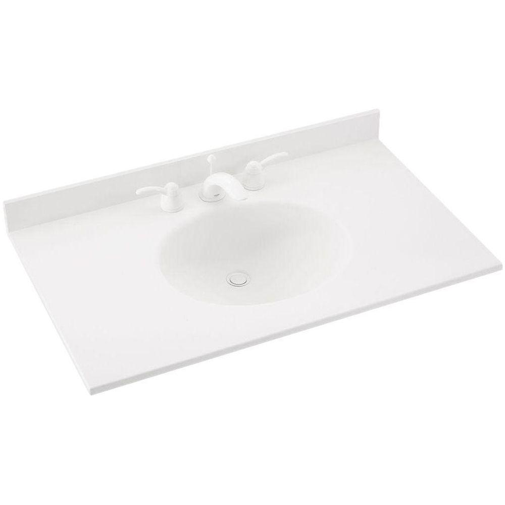 Swan Ellipse 61 in. W x 22 in. D x 10-1/4 in. H Solid-Surface Vanity Top in White with White Basin