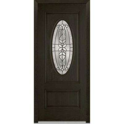 36 in. x 80 in. Cadence Left-Hand Inswing 3/4 Oval Decorative 1-Panel Stained Fiberglass Oak Prehung Front Door