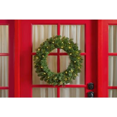24 in. Battery Operated Pre-lit LED Artificial Wesley Long Needle Pine Christmas Wreath w/ 30 Warm White Lights (6-Pack)