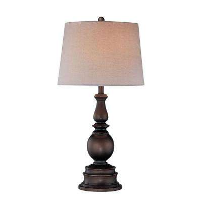 30 in. Bronze Table Lamp with White Fabric Shade