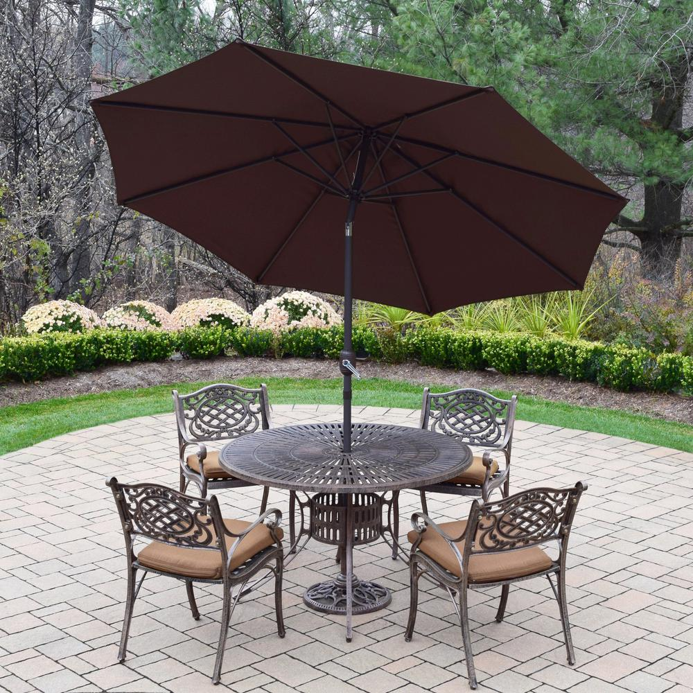 7-Piece Aluminum Outdoor Dining Set with Sunbrella Brown Cushions and Brown Umbrella