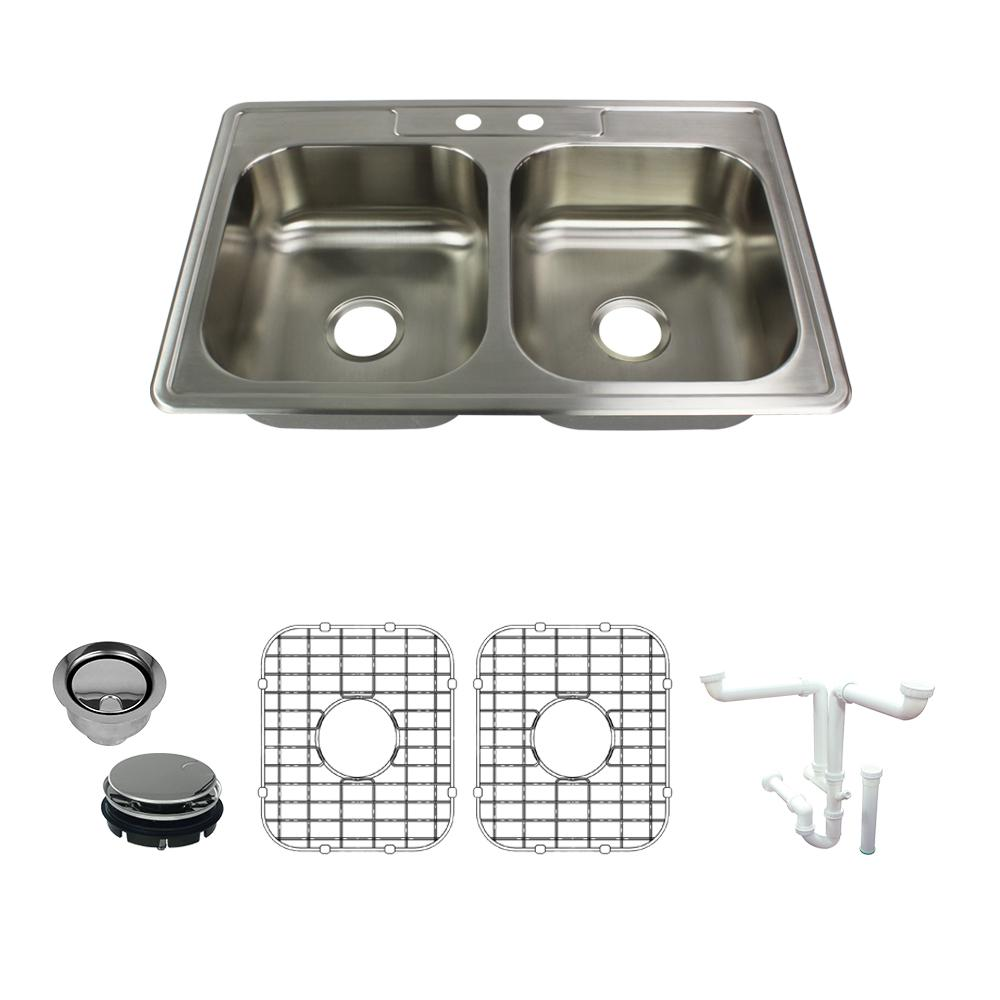 Transolid Select All In One Drop In 20ga Stainless Steel 33 In X 22 In X 7 In 2 Hole 50 50 Double Bowl Kitchen Sink In Brushed K Stde33227 2 The Home Depot