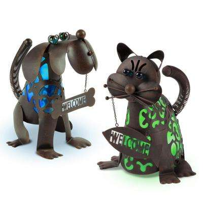 14 in. Tall Solar-Powered Metal Welcoming Dog and Cat Figurines (2-Set)