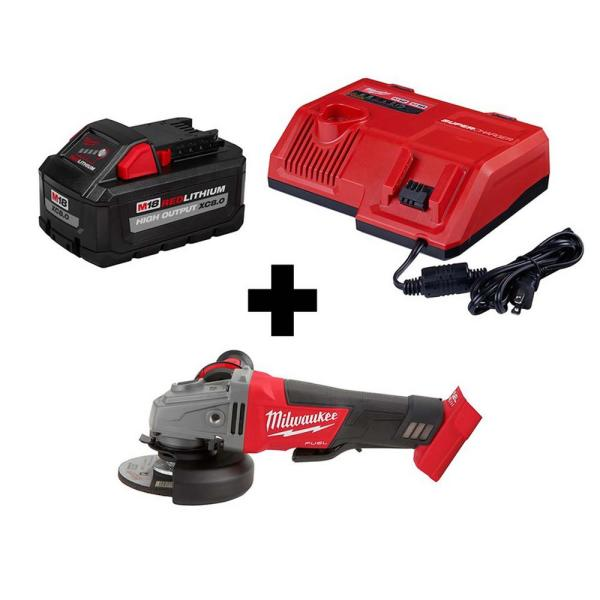 M18 FUEL 18-Volt Lithium-Ion Brushless Cordless 4-1/2 in./5 in. Grinder Paddle Switch w/ Super Charger and 8.0Ah Battery