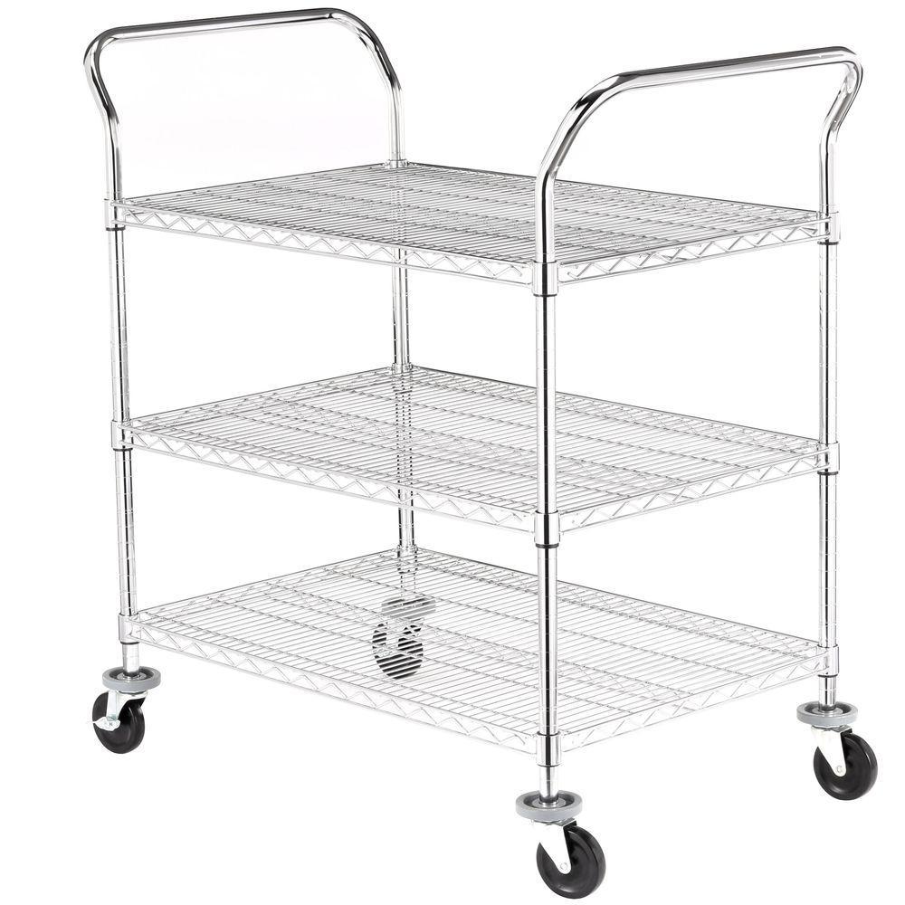 Sandusky Sandusky 3-Tier 600 lb. Capacity NSF Chrome Wire Cart, Grey