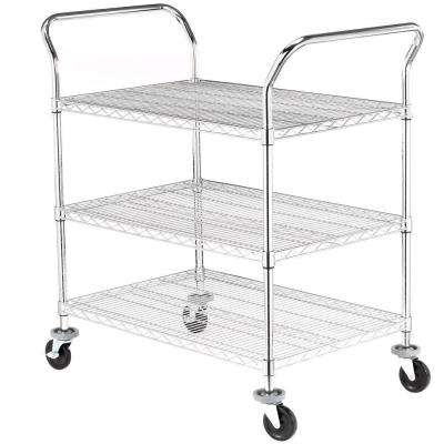 3-Tier 600 lb. Capacity NSF Chrome Wire Cart