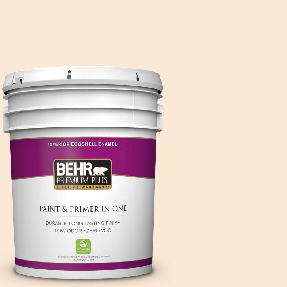 BEHR Premium Plus 5-gal. #300C-1 Princess Ivory Zero VOC Eggshell Enamel Interior Paint