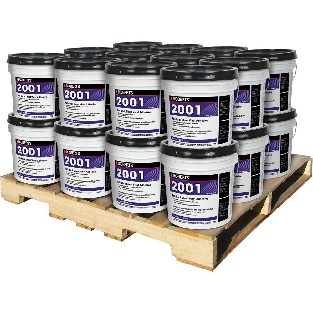 Roberts 4 Gal. Superior Grade Felt-Back Sheet Vinyl Glue Adhesive (24 Pail Pallet)