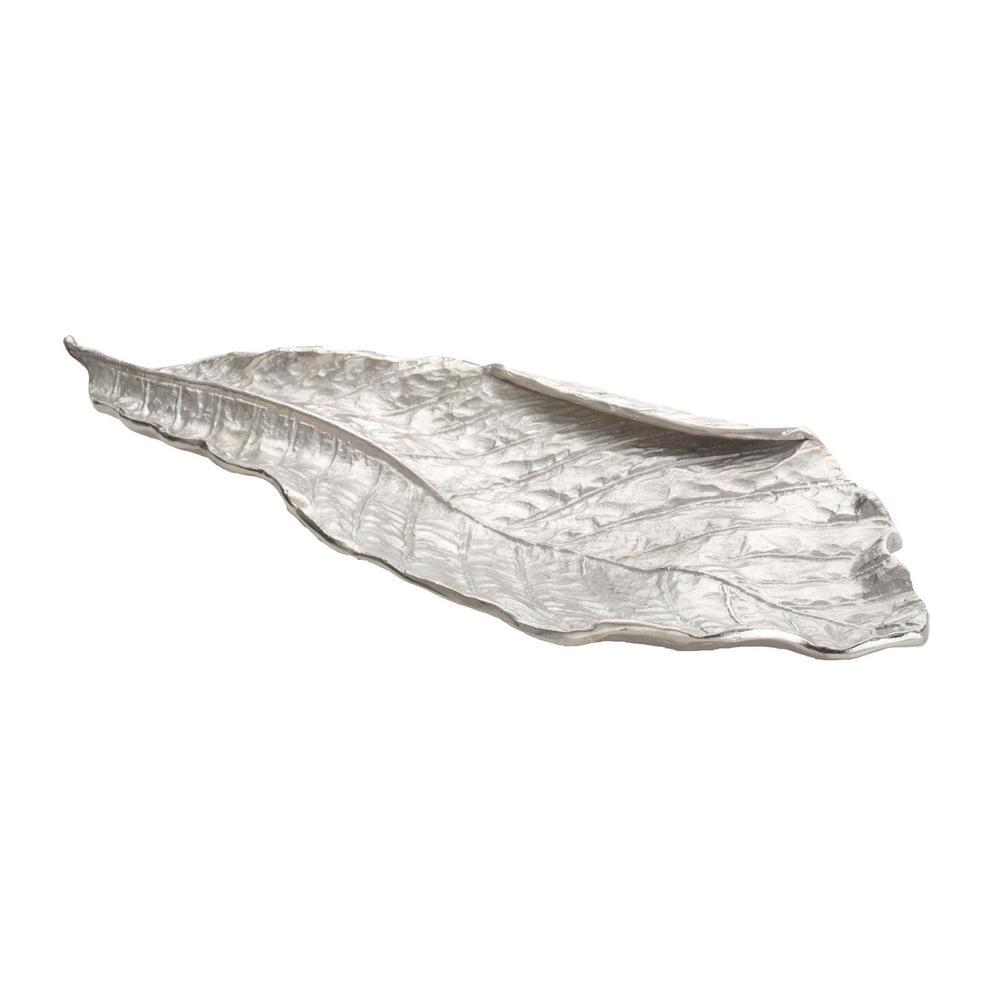 Silver Leaf 24 in. x 10 in. x 2 in. Aluminum Decorative Tray in Silver Finish