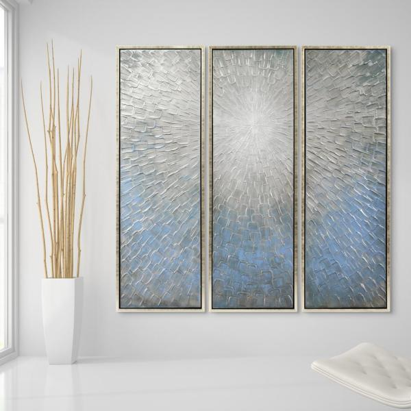 60 in. x 20 in. ''Silver Ice'' Textured Metallic Hand Painted by Martin Edwards Wall Art (Set of 3)