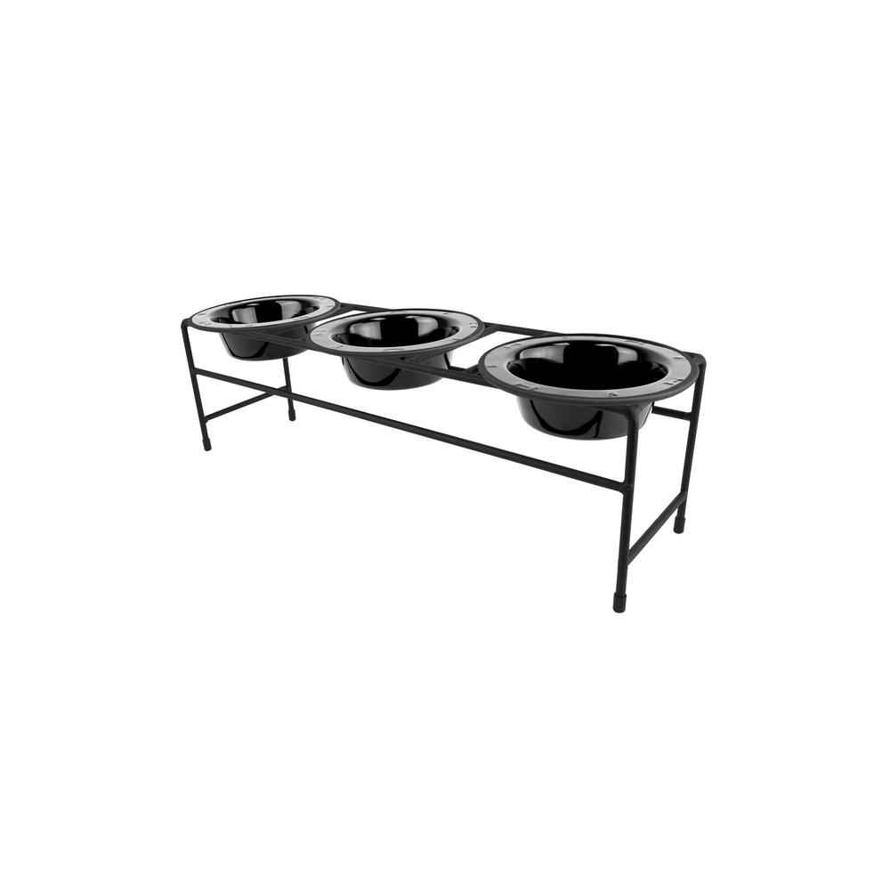Platinum Pets Modern Triple Diner Feeder With Stainless Steel Cat Dog Bowls Midnight Black
